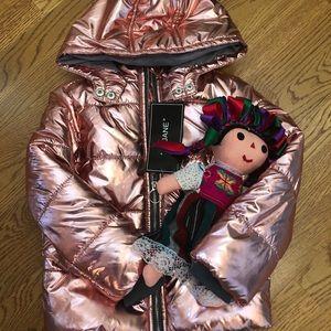Metallic holographic pink girls jacket